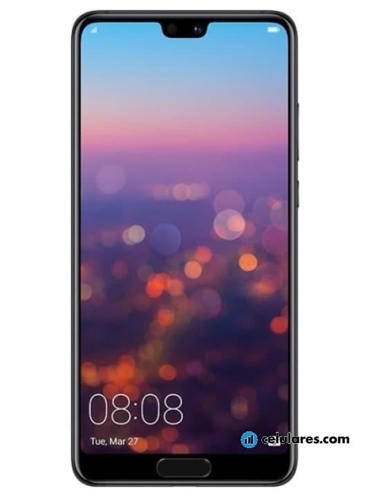 Fotografía grande Varias vistas del Huawei P20 Azul y Negro y Rosa. En la pantalla se muestra Varias vistas