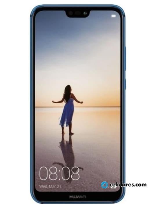 Fotografía grande Varias vistas del Huawei P20 Lite Azul y Negro. En la pantalla se muestra Varias vistas