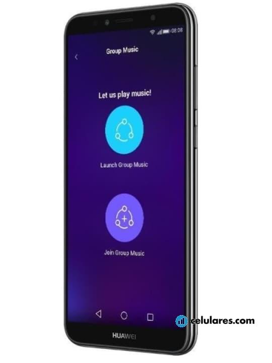 Fotografía grande Varias vistas del Huawei Y6 (2018) Azul y Dorado y Negro. En la pantalla se muestra Varias vistas