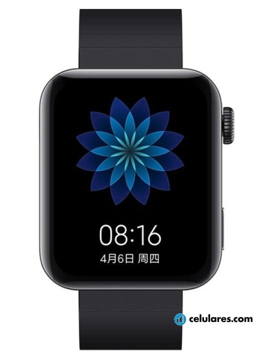 Fotografías Varias vistas de Xiaomi Mi Watch Plata y Negro. Detalle de la pantalla: Varias vistas